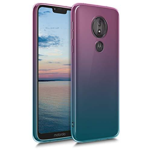 kwmobile Funda Protectora Compatible con Motorola Moto G7 Power - Carcasa Bicolor Rosa Fucsia/Azul/Transparente