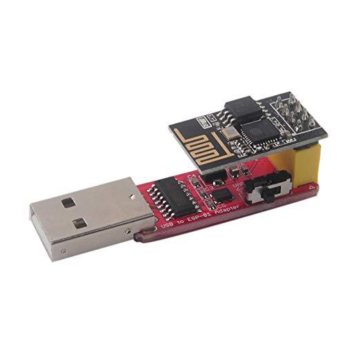Adaptador inalámbrico USB a ESP8266 ESP-01S Serial WiFi Módulo adaptador Wi-Fi CH340G USB a TTL driver IC incorporado, velocidad de 115200 Baudios