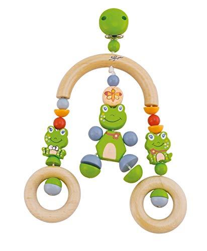 Bieco 44021033 Cliphanger/Trapez Froggy, cliphanger met Froggy de kikker en twee houten ringen als hanger, voor kinderen vanaf de geboorte, wit