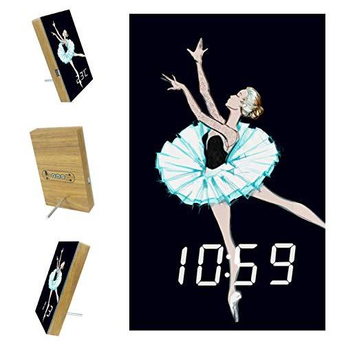 Digitaler Wecker für Schlafzimmer Kitchen Office 3 Weckereinstellungen Radio Wood Desk Clocks - Ballerina Tänzerin