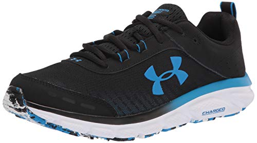 Under Armour mens Charged Assert 8 Mrble Running Shoe, Black/White, 9.5 US