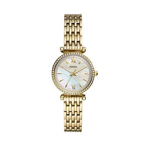 Fossil Women's Carlie Mini Quartz Stainless Three-Hand Watch, Color: Gold/Mother of Pearl (Model: ES4735)