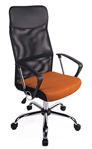 Exofcer High Curved Back Mesh Home Office Chair Executive Computer Height Adjustable Swivel Desk Chair (Orange)