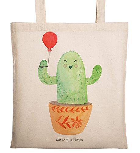 Mr. & Mrs. Panda Einkaufstasche, Jutebeutel, Tragetasche Kaktus Luftballon - Farbe Transparent