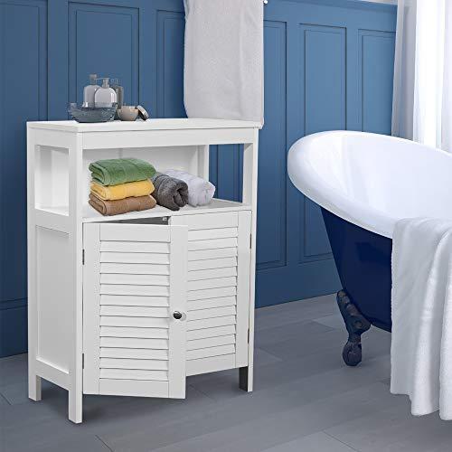 GOOD & GRACIOUS Bathroom Floor Cabinet, Freestanding Cabinet with Double Leaf Door, Bathroom Organizers, Storage and Adjustable Shelf, White