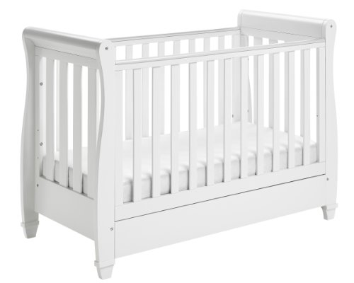 Babymore Eva Sleigh Baby Cot Bed with Foam Mattress & Drawer...