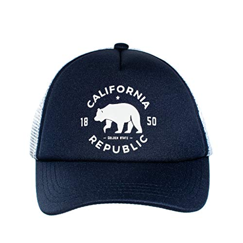 Knuckleheads Clothing Baby Boy Infant Trucker Sun Hat Toddler Mesh Baseball Cap Cali Navy White XS 43 cm 6 to 12 Months