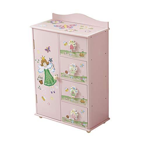 WODENY - Armadio per Camera da Letto dei Bambini, 4 unità con Fate, Fiori, Farfalle, api e Dipinti Rosa