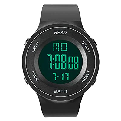 Men Women Digital Sports Watch LED Screen Shockproof Electronic Military Watches with Stopwatch Alarm and Calendar R90003
