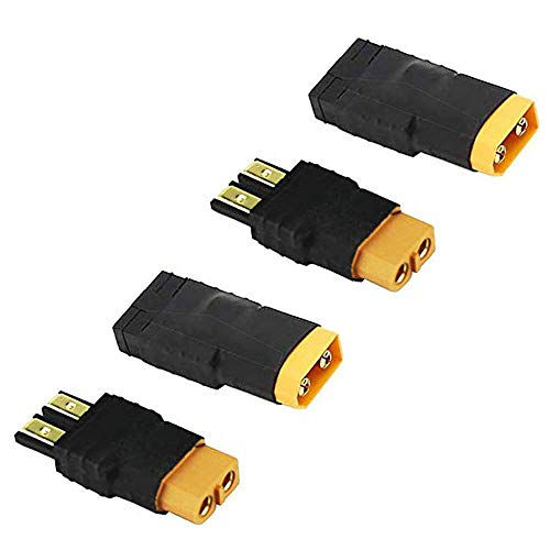 2 Pair RC LiPo Battery Connector Adapter Compatible with Traxxas Plug Battery to XT60 Male Female Connectors ESC Charger