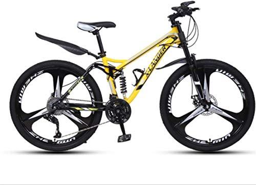 Mountainbikes, 24-Zoll-Downhill Weiche Schwanz-Mountainbike-variable Geschwindigkeit Männer und Frauen-Dreirad-Mountainbike Aluminiumrahmen mit Scheibenbremsen ( Color : Yellow , Size : 24 speed )