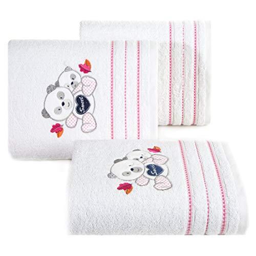 Design91 babyhanddoek wit roze handdoeken kinderhanddoek kindermotief teddybeer teddybeer meisjes badkamer zacht lief knuffelig, 50x90cm