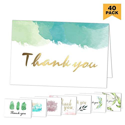 Dankeskarten: 40 sortierte Pack-Danksagungs-Gruß-Karten mit Umschlägen für alle Gelegenheit, Ihre Hochzeit, Staffelung, Babyparty, Brautparty, Jahrestag, Geschäft, 4 x 6 Zoll - löschen nach innen