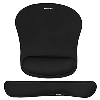 TECKNET Keyboard Wrist Rest and Mouse Pad with Wrist Support Memory Foam Set for Computer/Laptop/Mac Lightweight for Easy Typing & Pain Relief Ergonomic Mousepad  Black