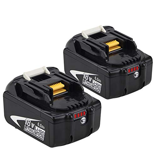 2 Packs 6.0 Ah 18 V Replacement Battery Compatible with Makita 18V...