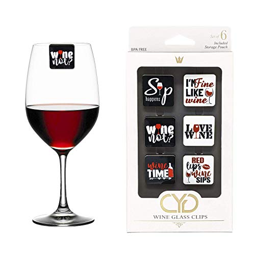 Fun Wine Sayings Wine Charms  Drink Markers - Set of 6 - Wine Glass Clips by Claim Your Glass CYG - Storage travel pouch Included