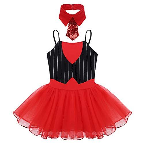 iiniim Disfraz Bailarina Niña Maillot Ballet con Falda Vestido Tutú de Danza Traje de Ringmistress de Circo Cosplay Body de Baile Fiesta