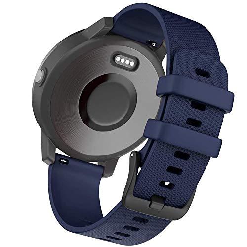 Correas de reloj de silicona de liberación rápida de 20 mm, compatibles con Forerunner 245 645 Music Vivoactive 3 Vivomove HR Galaxy Active 2 Polar Ignite para accesorios Garmin (20 mm, azul oscuro)