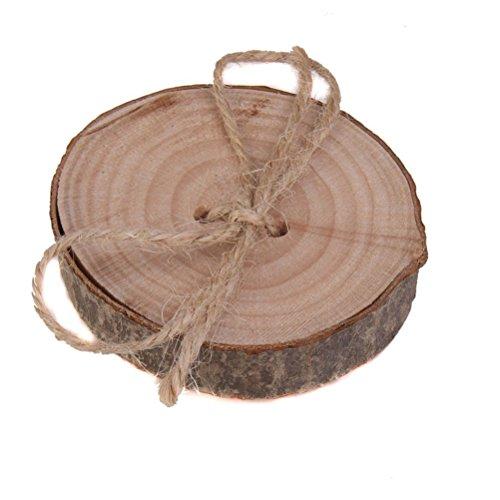 VORCOOL Hochzeit Ring Box, rustikale Shabby Chic Hochzeit Holz Ring Kissen Bearer Jute Seil Runde