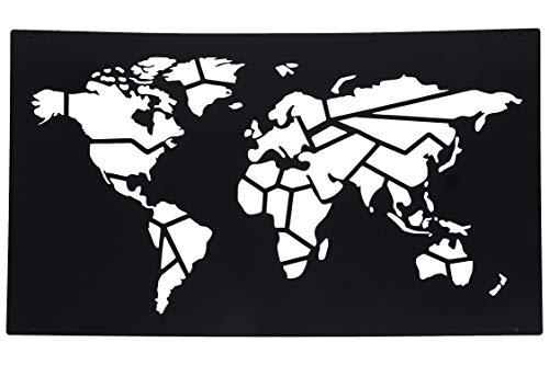 Hansmeier® Wanddeko aus Metall | 115 x 68 cm | Wasserfest | Für Außen, Innen, Balkon & Garten | Metalldeko | Deko Industrial | Motiv Weltkarte Worldmap