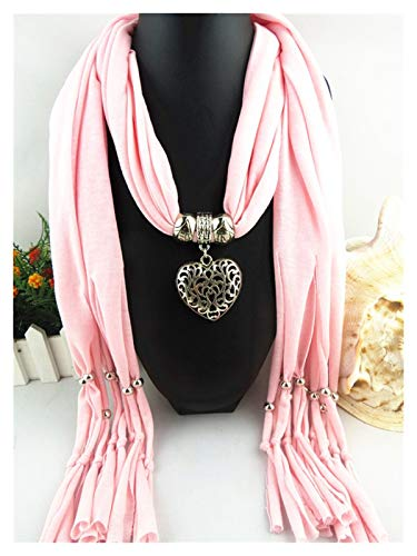 Zxebhsm Bufanda 2017 otoño más Reciente Mujeres corazón Seda Bufanda de la Bufanda Collar Boho Hecha a Mano Collar Gargantilla Maxi Collares Colgante Gran joyería (Farbe : 6)