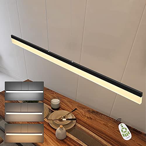CBJKTX LED Pendelleuchte Esstisch dimmbar Hängelampe Höhenverstellbar Schwarz Bürolampe mit Fernbedienung 120cm Länge 23W Modern Esszimmerlampe Minimalistisch Design Wohnzimmerlampe