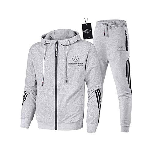 AGLOAT Herren und Damen Trainingsanzug Jogginganzug Sportanzug Jogginghose Zweiteilige Trainingsjacke Pants Stripe mit Kapuze Mantel Sportbekleidung Sporthose,Grau-L