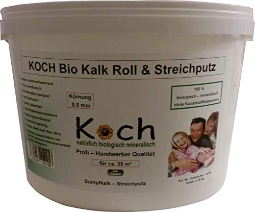 Koch Kalk Bio Roll & Streichputz 15 Kg Rollputz Putz von der Rolle Innenputz Kalkputz innen (Körnung 0,8 mm)