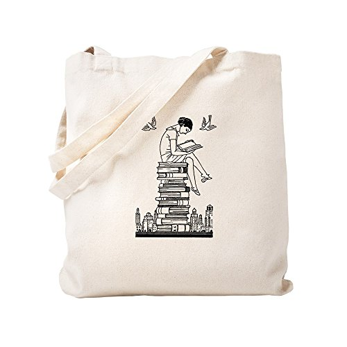 CafePress Reading Girl Atop Books Natural Canvas Tote Bag, Reusable Shopping Bag