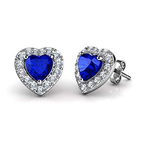 DEPHINI - Pendientes de plata de ley 925 con forma de corazón azul - Colgante de cristal de circonita cúbica - Joyería fina para mujer - Plata chapada en rodio - Circonita cúbica - Regalos para mujer