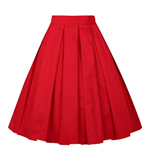 Girstunm Women's Pleated Vintage Skirt Floral Print A-line Midi Skirts with Pockets Red M