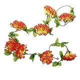 PETSOLA Soie Ivy Vine Leaf Chrysanthemum DIY Guirlande Suspendue Funérailles Fleur De Deuil - 2