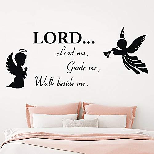 Dios religioso Etiqueta de la Pared Cita de Vinilo El Señor me Lleva a guiarme a Caminar Conmigo Arte Etiqueta de la Pared Calcomanía Decoración del hogar Mural 91x40cm