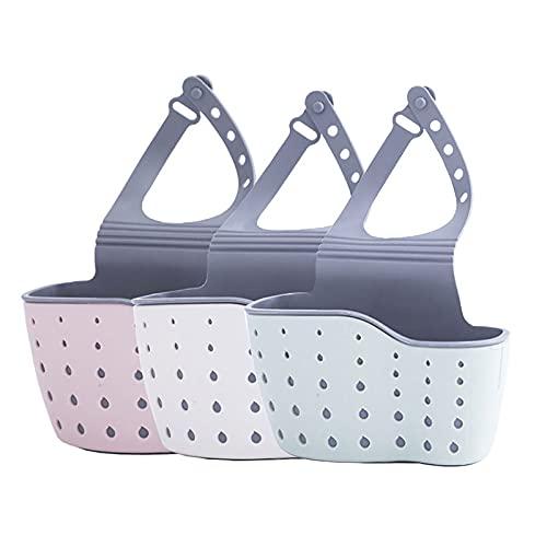 OMKMNOE Soporte De Esponja Organizador De Baño, Cocinas Beige Y Rosadas Tapeo De Almacenamiento De Baño Cuelga El Zócalo De La Tienda De Baño,1