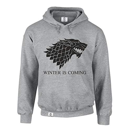 shirtdepartment Hoodie Game of Thrones Winter is Coming Kapuzenpullover Schattenwolf, grau-schwarz, L