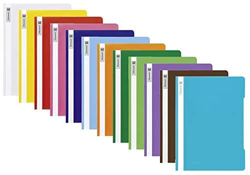 Schnellhefter A4 farbig sortiert PP-Folie glasklares Deckblatt (Schnellhefter PP, farbig sortiert, 12)