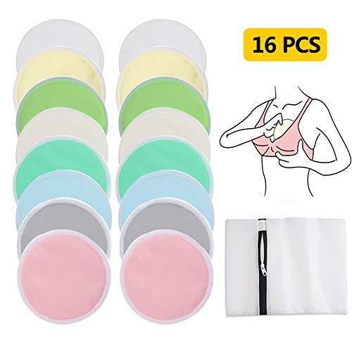 16Pcs Almohadillas de Lactancia Reutilizable, Cojines de Enfermería Bambú...