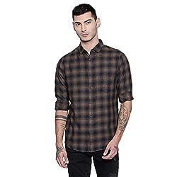 Dennis Lingo Mens Checkered Khaki Slim Fit Casual Shirt