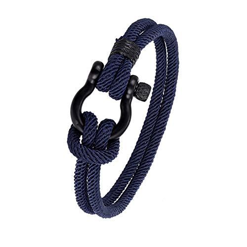 JIEERCUN Moda Camping Parachute Cuerda Lucky Bracelet Hombre Pulsera de Acero Inoxidable Damas Black Horseshoe Hebilla Pulsera Reloj Deportivo brazaletes (Color : A, Size : 23cm)
