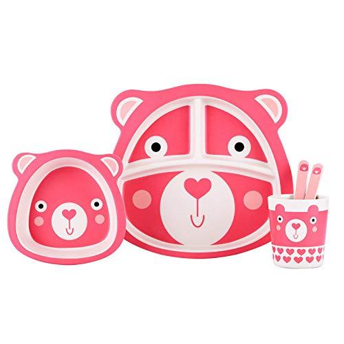 Juego de cubiertos para niños, juego de platos para bebés, cubiertos de bambú para niños y niñas, 5 piezas/juego (tablero de compartimentos, cuenco, taza, cuchara, tenedor), sin BPA