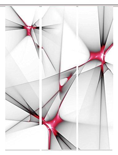 Home Fashion Digitaldruck Schiebevorhang 3er Set, 3X blickdichter Dekostoff, Stoff, rot, 245 x 60 x 245 cm, 3-Einheiten