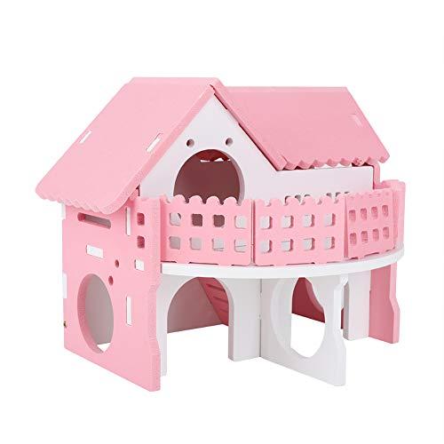 Zerodis Holzhamster Haus, rosa kleines Haustier schlafen Haus Doppelschichten Villa Balkon Montage Spielzeug für Maus Chinchilla Rat Rennmaus Zwerghamster