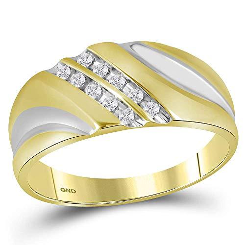 Saris and Things amarillo-tono esterlina de plata para hombre diamante redondo de la banda del anillo de bodas 1/8 cttw