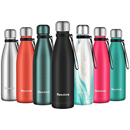 Newdora Vacuum Insulated Water Bottle & Vacuum Flask - 500ml,12 Hours Hot/24 Hours Cold,Double Walled 18/8 Stainless Steel for Kids, Sport, Outdoor with Cleaning Brush