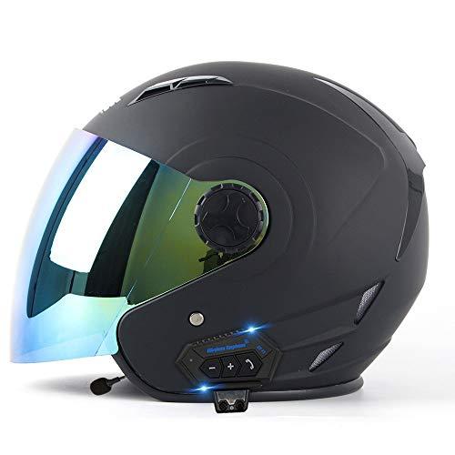 Cascos De Motocicleta Bluetooth Casco De Moto Vespa Jet Motocicleta 3/4 Cara Abierta Medio Casco, Aprobado Por DOT, Con Micrófono Para Automático Half Helmet 7, M=(57~58CM)