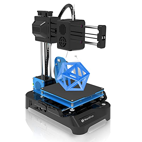"""NantFun DIY 3D Printer for Kids, Mini 3D Printer for Beginners, Upgraded Extruder Technology Small 3D Printer Fast Heating Low Noise with Free PLA Filament Printing Size 4""""×4""""×4"""" Black & Blue"""