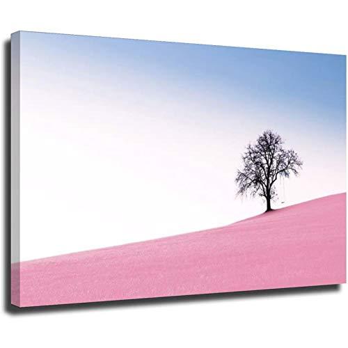 Lienzo decorativo para pared, diseño romántico con un árbol solitario y un columpio impreso, arte moderno para el hogar, listo para colgar sin marco, 60 x 90 cm