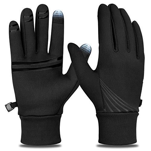 Cevapro Fahrradhandschuhe Damen Herren Winterhandschuhe Fahrrad Laufhandschuhe Winddichte Sporthandschuhe Leichte Handschuhe zum Radfahren Laufen Wandern (Schwarz, L)