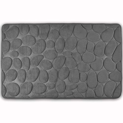 WohnDirect Badezimmerteppich mit Memory Foam - Rutschfester Badteppich - Badematte waschbar & schnelltrocknend auch ideal als Duschvorleger - Badvorleger 50 x 80 cm - Grau