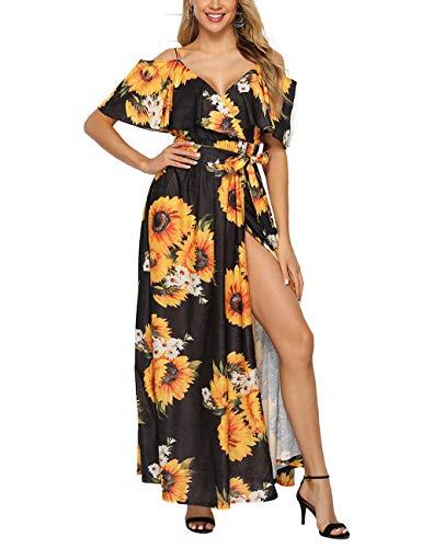 FeelinGirl Damen Lange Kleid Kleider Sommerkleider Maxikleider Blumenkleid Blumedrucken Strandkleid Rundhals High Waist V Ausschnitt